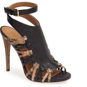 COACH snake print leather heels ankle strap